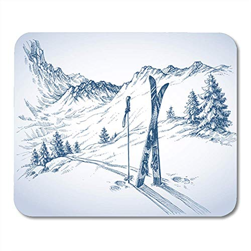 """HOTNING Gaming Mauspads, Gaming Mouse Pad Sketch Ski Mountains in Winter Season Snow Landscape 11.8""""x 9.8"""" Decor Office Computer Accessories Nonslip Rubber Backing Mousepad Mouse Mat"""