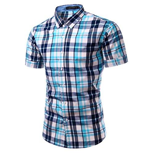 Men's Fashion Vestidos Chemise Short Sleeve Slim Fit Shirts Blue Navy