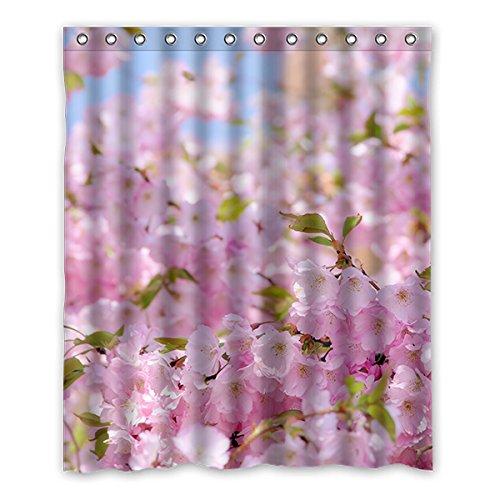 Once Young–Peach Blossom Wasserdicht Polyester Duschvorhang Nature Serie mit Lebhafte Farbe, hohe Qualität Stoff Duschvorhang Größe: 152,4x 182,9cm (152cm x 183cm), Polyester, J, 152,4 x 182,9 cm (Peach Farbe Duschvorhang)