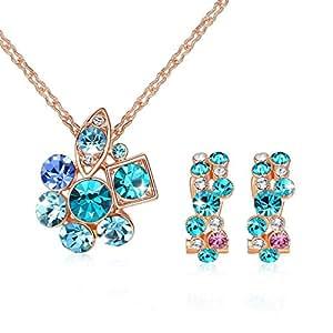 GoSparking Indicolite cristallo 18K Rose Gold Plated Alloy arcobaleno ciondolo e orecchini set con il cristallo austriaco per le donne