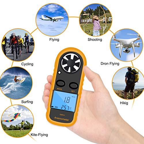 Digital Windmesser Anemometer, LCD Windgeschwindigkeitsmesser Luftstrom Geschwindigkeitsmessung Thermometer handwindmesser Gerät für Surfen/Kite/Fliegen/Segeln/Surfen/Angeln (Batterie enthalten)