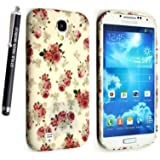 SAMSUNG GALAXY S4 I9500 I9503 I9505 I9506 SILICONE GEL PROTECTION CASE SKIN COVER + SCREEN PROTECTOR + STYLUS (ROSES ON WHITE)