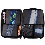 Juego de organizador de equipaje Weekender 5PCS Malla de poliéster El valor de los cubos de embalaje para el maletero de viaje Bolsa de compresión Bolsas de compresión Maleta (Color: Negro, Azul marin
