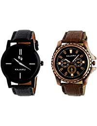 Kajaru KJR-7,1 Round Black Dial Analog Watch Combo For Men (Pack Of 2)
