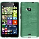 PhoneNatic Case kompatibel mit Microsoft Lumia 535 - grün Silikon Hülle Brushed + 2 Schutzfolien
