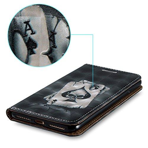 Coque pour iPhone 5 5S 5G / iPhone SE,Ecoway 3D relief en relief étui en cuir PU Cuir Flip Magnétique Portefeuille Etui Housse de Protection Coque Étui Case Cover avec Stand Support Avec des Fente de  poker