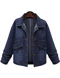 Mambain Giubbotto Donna di Jeans Invernale Caldo Cappotti Donna Imbottito  Taglie Forti Cotone Bottoni Parka Giacche 8077b5f73ca