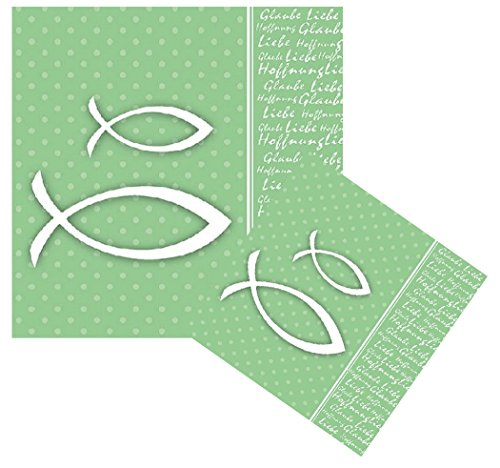 Feste Feiern zur Kommunion Konfirmation | 20 Teile Servietten grün mit Fisch Ichthys 33x33cm I Glaube Liebe Hoffnung