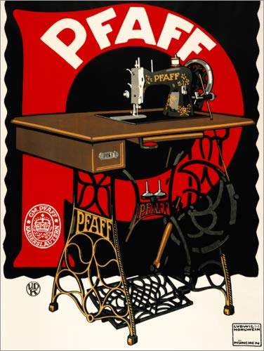 Posterlounge Leinwandbild 70 x 90 cm: Pfaff Nähmaschinen von Ludwig Hohlwein/akg-Images - fertiges Wandbild, Bild auf Keilrahmen, Fertigbild auf echter Leinwand, Leinwanddruck