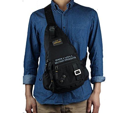Innturt - Zaino a tracolla, in nylon, C-Blue - Large-Black