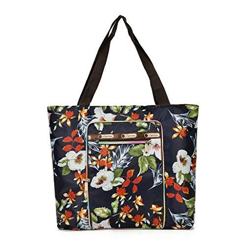 Lazder Damen Schultertasche Handtaschen Nylon Handtasche Druck weiblich große Kapazität Einkaufstaschen, Mehrfarbig - multi - Größe: Small