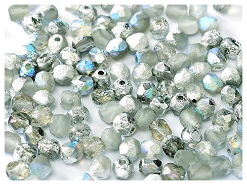 100 Stück Tschechische facettiert Glasperlen Fire-Polished Rund 4mm, Etched Crystal/Silver Rainbow - Polnischen Glasperlen Feuer 4mm Tschechische