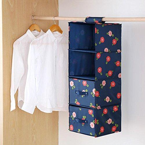 Xuan - worth another Blau Blumenmuster Schublade Kleiderschrank Aufbewahrungstasche Hängenden Kleidung Unterwäsche Aufbewahrungstasche Vier Schichten (27 * 28 * 81 cm) ( Farbe : Two drawers ) (Oxford Vier Schublade)