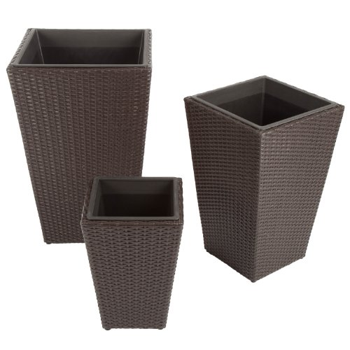 Ultranatura Poly-Rattan Planters Set of 3 Palma Series, Rattan Garden Planters with Plastic Inserts, Perfect to Pair with Indoor and Outdoor Furniture