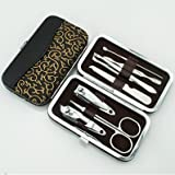FOK Set Of 7Pc Manicure And Pedicure Compact Handy Tool Set With Lather Storage Pouch Personal Care Grooming Kit
