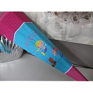 Meerjungfrau Robbe Delfin türkis-pink Schultüte Stoff + Papprohling + als Kissen verwendbar