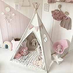 Tiny Land Tipi Enfant avec Tapis de Sol, Blanc Toile Enfants Jouent Tente pour Intérieur & l'extérieur