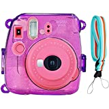 Camera Case Cover For Fujifilm Instax Mini 9/8/8+, PVC Transparent Crystal Protective Camera Case For Fujifilm Instax Mini 9/ 8/ 8s Instant Film Camera With Cute Adjustable Strap (Glitter Purple)