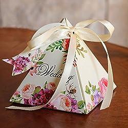 Kicode cinta de azúcar en forma de cono Caja de caramelos de embalaje Favor de la boda del partido Cumpleaños Suministros de regalo