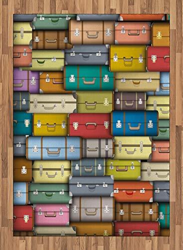 ABAKUHAUS Ancien Tapis Tissé à Plat, Voyage Valise Couleur, Salle de Séjour Chambre à Coucher Salle à Manger, 160 x 230 cm, Multicolore
