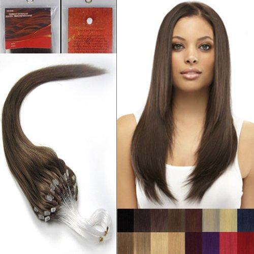 45,7 cm droite à pointe Boucles Micro Anneaux Perles extenions de cheveux humains 100s 06 Marron chocolat foncé femmes Beauté multicolores Style Design 0,5 g/s