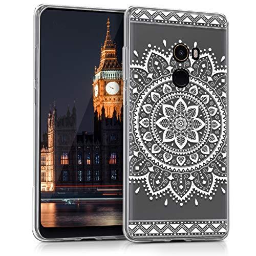 kwmobile Funda para Xiaomi Mi Mix 2 - Carcasa de TPU para móvil y diseño de Flor Azteca en Blanco/Transparente