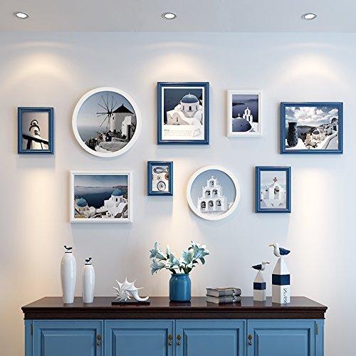 Foto Wand Foto Wand Dekor Ideen Zimmer Schlafzimmer Living Wall panel runde Bilderrahmen wand Kombination aus mediterranem Blau + Weiß