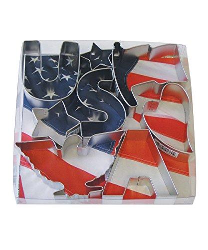 R&M International 1904 USA Patriotic Cookie Cutters, 2 Stars, Flag, Eagle, Heart, Letters U, S, A, 8-Piece Set (Cutter Kids Dough)