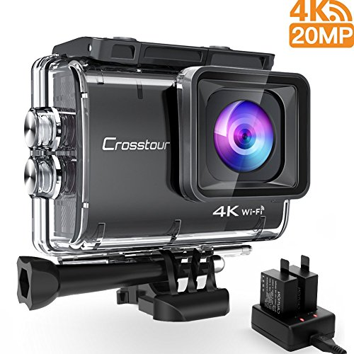 Crosstour Videocámara Acción 4K 20MP Impermeable