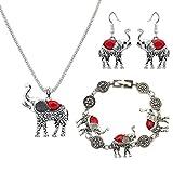 jovono Damen-Halskette Ohrring Armband-Set für Frauen mit Legierung Elefant türkis rot