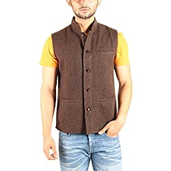 Owncraft Mens Woolen Nehru Jacket (Own_340_Brown_38)