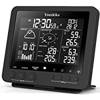 Youshiko Weather Station with Colour Changing Display , Radio Control Clock ( UK Version ) and Professional 5-in-1 Wireless Sensor ( Wind speed & direction, Rainfall, Temperature & Humidity )