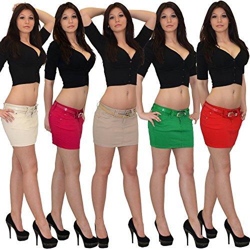 Jean Mini-Jupe pour Femmes Rock pour lété Mini Jupe en Jean Femmes Mini Jupe en Jean très Chic R30 R36-menthe