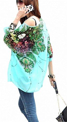 T-shirt Donna Fiori - BienBien Maglietta Manica 3/4 Bohemian Chiffon Blusa Taglie Forti T Shirt Stampa Chiffon B5