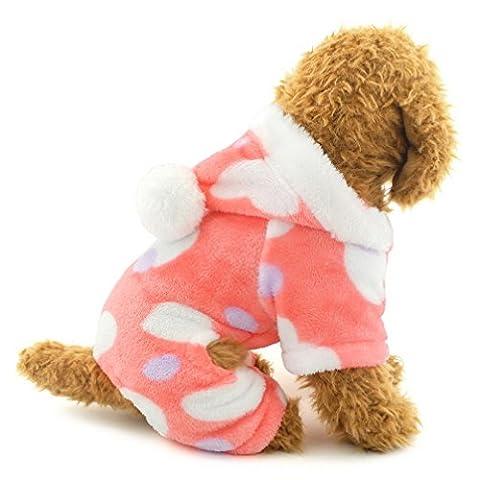 Ranphy Petit Chien Salopette pour femelle doux Amour coeurs en velours Chien Pyjama à capuche Four-leg JumpSuit Winter