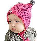 ZARU Botón del niño del cabrito Niños Niñas bebé de la piel de la bola de punto de invierno sombrero caliente del casquillo (HOT)