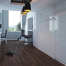 Cama plegable de 140cm vertical blanco frente brillante cama plegable & cama de pared SMARTBett sin colchón