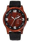 Alienwork Herren-Armbanduhr Quarz rot mit Canvas-Armband schwarz Kalender Holzuhr Natur-Holz