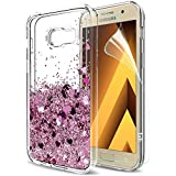 Samsung Galaxy A5 2017 Phone Case Bling with HD Screen Protector, LeYi Sparkly Shiny Glitter Liquid 3D Quicksands Cute Slim Clear Transparent TPU Gel Elastic Silicone Shockproof Protective Phone Cover Cases for Samsung Galaxy A5 2017 ZX Rose Gold