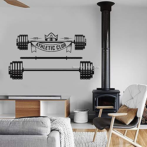 Ajcwhml Club Deportivo Personalizado Apliques Barbell Tatuajes de Pared Estudio de la Pared Etiqueta de la Pared Gym Poster Mural 127cm x 70cm