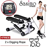 Sasimo Health & Fitness Multifuntional Stepping Machine Mini Elliptical Pedal Stepper with Resistance Bands & LCD Digital Display for Leg (Stepper for Exercise) (Pedal Exerciser)