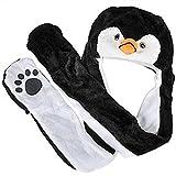 Eastlion Karikatur Tier Siamesische Hut Schal Handschuhe Plüsch Warme Ohr Schutz Schnee Kappe,Schwarzer Pinguin