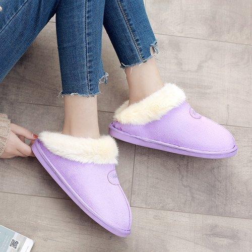 DogHaccd pantofole,Autunno Inverno pacchetto con pantofole di cotone di spessore paio di uomini e donne rimanere morbido, pavimento antiscivolo piatto scarpe di cotone Viola chiaro1