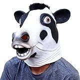 CreepyParty Deluxe Innovante Toussaint Costume Réunion Botanique Animalia Tête Masque Vache à Lait