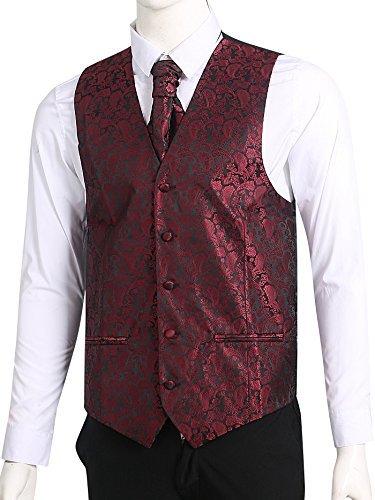 LL L & L Herren Weste mit Paisley-Muster Weste und Krawatte Einstecktuch Set für Anzug - UK Weihnachten - weinrot, Chest 48'' 5XL