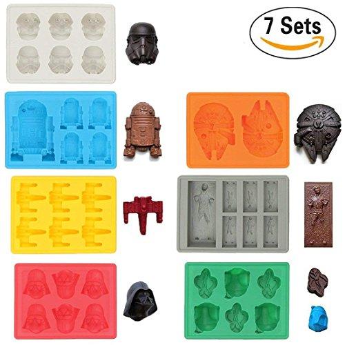 Sunerly Moldes de silicona para bandeja de hielo en forma de personaje de Star Wars, ideal para chocolate, cubitos de hielo, bandejas, gelatina, dulces, postres, jabón para hornear y hacer velas (juego de 7)