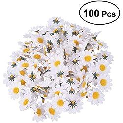 Healifty Gerbera de Cabezas de Flores de Margarita Artificial Blanca para el Banquete de Boda de DIY 100pcs
