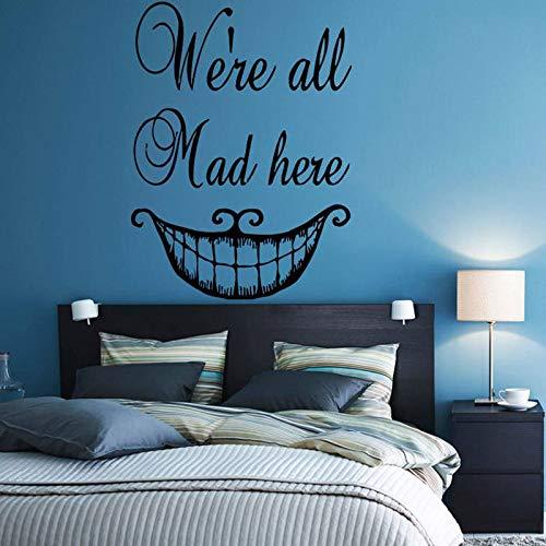 Wir sind alle Hier wütend Vinyl Aufkleber Alice im Wunderland Cartoon Art Decal verrückte magische Hut Mädchen Kinderzimmer Schlafzimmer Deco 57 * 77cm