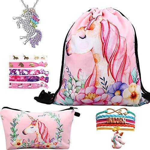 RHCPFOVR Licorne Cadeaux pour Les Filles 5 Pack, Licorne Cordon Sac à Dos/Sac à Maquillage/Collier Pendentif Licorne/Bracelet/Cheveux Attaches