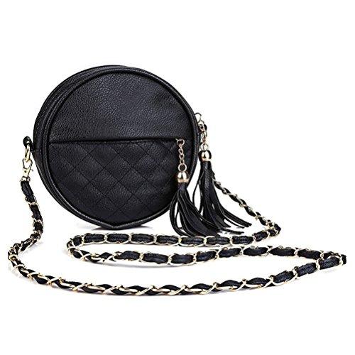 Honeymall piccoli rotondi pacchetto/ mobile tondo pacchetto/Mini tracolla borsa a tracolla piccola spalla Borsa nappa Rosso Nero